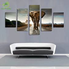 Modern Painting For Living Room 5 Pcs Elephant Painting Canvas Wall Art Picture Home Decoration