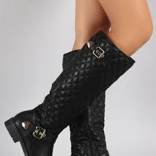 Shop Quilted Riding Boots on Wanelo & Quilted Buckled Riding Knee High Boots Adamdwight.com