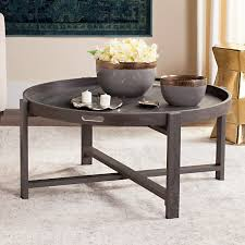 safavieh cursten 33 round tray top retro mid century coffee table dark grey com