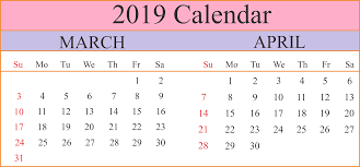 Image result for march and april 2019 calendar