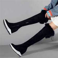 Punk Long <b>Trainers Women Cow</b> Leather Knee High Boots Female ...