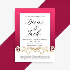Wedding Card Design Beautiful Floral Wedding Card Design Vector Free Download