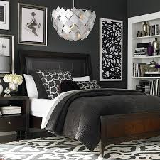 black bedroom furniture decorating ideas. love the contrast of charcoal and white in this cosmopolitan bedroom setting by bassett furniture black decorating ideas n