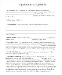 Free Simple Lease Agreement Form Inspiration Sample Equipment Lease Agreement Template Rental Verbeco