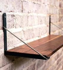 metal and wood wall shelves wood wall shelves with brackets sy wall shelves brown varnished wooden