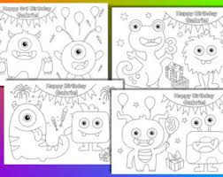 Small Picture 24 Monster Coloring Book Pages with games monster masks