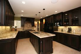 Basement Kitchens Kitchen Colors With Oak Cabinets And Black Countertops Tv Above