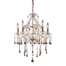elk lighting 4012 5amb once 5 light chandelier in rust and amber crystal