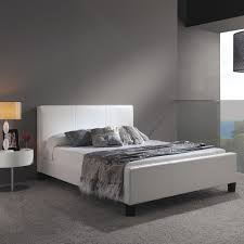 fashion bed group euro white full size platform bed with side rails and soft upholstered