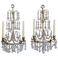 pair of swedish gustavian style crystal and bronze candle wall sconces