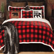 a black forest decor exclusive comfort and style merge in this soft polyester bedding in red and black buffalo check plaid with faux shearling trim