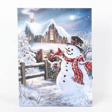 Winter Pictures With Led Lights Winter Wonderland Snowman Print With Led Lights Multicolor