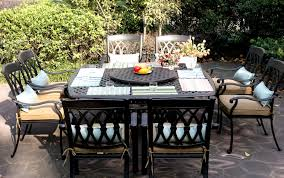 Patio Furniture Dining Set Cast Aluminum 64 Square Table 9 pc San