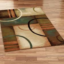 contempory area rugs square brown blue leaf pattern modern
