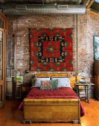industrial bedroom with old brick wall and eclectic decoration interior wall ideas using brick material