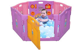 6 panel indoor outdoor pen baby playpen safety play center yard home pink