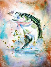 LARGEMOUTH BASS FISH Watercolor painting Giclee Print from my