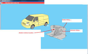 relay position of blow heater in ford transit 2002 graphic