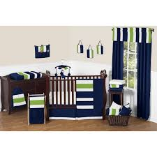 sweet jojo designs navy blue and lime green stripe 11 piece bedding for nursery decoration ideas