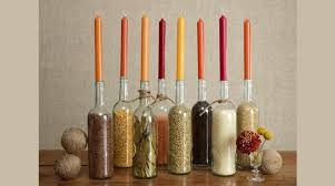 An autumn decor working its magic based on wine bottle crafts