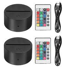 Eeekit 2 Pack 3d Night Led Light Lamp Base Remote Control Usb Cable Adjustable 7 Colors Decoration De La Maison Decorative Lights For Bedroom