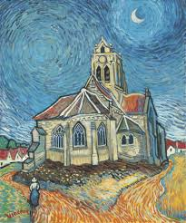 john myatt the church at auvers in the style of vincent van gogh