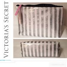 victoria s secret silver glitter stripe makeup bag