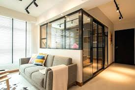 glass wall for home floating farmhouse with curtain office