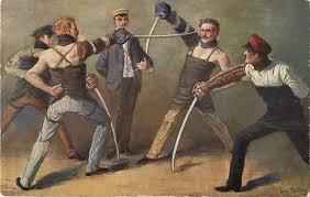 Four men fencing