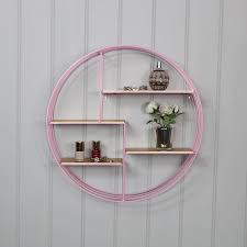 pink gold wire metal wall shelf
