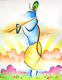 abstract lord krishna watercolor painting
