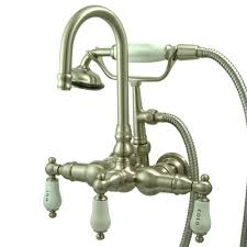 kingston brass 3 handle wall mount claw foot tub faucet with handshower in satin