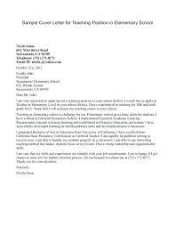 Cover Letter Elementary Teacher Sample Job Application Cover Letter