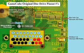 the definitive gamecube motherboard trimming guide gc forever wiikey wode to gamecube disc drive pinout s the points in these pics represent the wii dvd drive wiikey wode mod pinout s top of motherboard medium