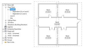 once you create two dependant views of a floor plan you will see two dashed rectangular boxes in a pa floor plan indicating extent of two dependant