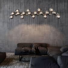 Moderne Esstischlampe Glob 120cm Chrom 25 Rauchgläser 81517