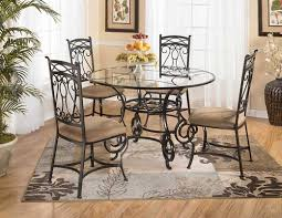 Kitchen:Glass Round Wrought Iron Kitchen Table With Brown Chairs And  Decorative Rug In Warm