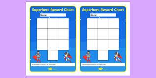 Superhero Themed Reward Chart Superhero Reward Chart