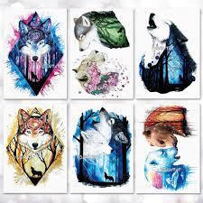 Vodotěsné Dočasné Tetování Nálepka Akvarel Vlk Tygr Liška Vzor