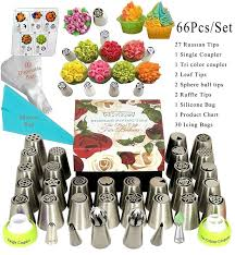 Russian Piping Tips 66 Pcs Icing Frosting Tips Cake Decorating Supplies 33 Piping Nozzles Extra Large Cupcake Decorating Russian Tips Set Russian