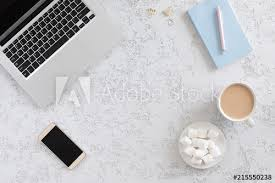 Top office table cup Desk Top View Of Modern White Office Table With Laptop Mobile Phone Coffee Cup Adobe Stock Top View Of Modern White Office Table With Laptop Mobile Phone
