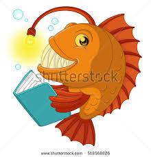 cartoon fish reading the book