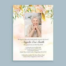 Memorial Announcement Cards Watercolour Flowers Funeral Memorial Announcement Cards Funeral