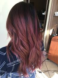 Dark Rose Hair Color Balayage Ombre