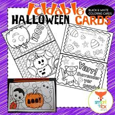 Print these free halloween bingo cards and have fun playing as a family or at class parties. Halloween Cards Foldable Craft And Coloring Printable By Smart As A Fox Designs