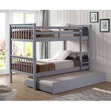 Kids Gray Wood Twin Bunk Bed with Trundle Bed