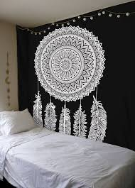 Where To Buy Dream Catchers In Singapore Queen Black White Dream Catcher Mandala Wall Hanging Cotton 48
