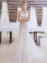 open back lace flowers scoop neck court train mermaid wedding