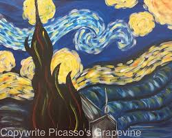 2233 van gogh starry night paint and sip picasso s gvine wine painting parties in michigan painting studio wine painting parties clarkston