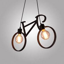 24 w industrial style wrought iron bicycle shape living room indoor led pendant lighting